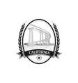 vintage hand drawn emblem bridge logo design vector image