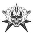 vintage rock musician skull with mohawk vector image vector image