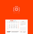 wall calendar template for june 2019 week starts vector image