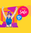 woman hand up be happy with sale poster vector image vector image