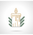 Yellow Christmas candle flat line icon vector image vector image