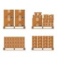 Brown carton box wooden pallet vector image