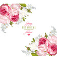 romantic flowers corner banner vector image