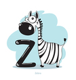 Cartoons Alphabet - Letter Z with funny Zebra vector image
