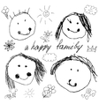 Happy family doodle real child vector image