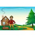 A lumberjack standing in front of the wooden vector image vector image