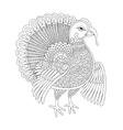 black and white line art turkey decoration vector image