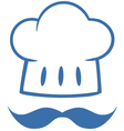 Blue Chef Hat With A Mustache Logo vector image