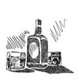 bottle whiskey with glasses sketch vector image