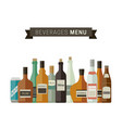bottles of alcoholic beverages vector image vector image