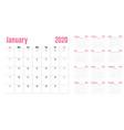 calendar planner 2020 template vector image vector image