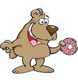 Cartoon bear eating a doughnut vector image vector image