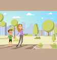 cartoon little boy and woman vector image