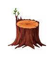 cartoon old tree stump with cracks and roots vector image vector image