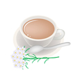 Cup of Tea with White Yarrow Blossoms vector image vector image