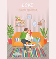 cute couple in living room interior image vector image