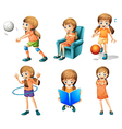 Different activities of a young lady vector image vector image