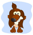 dog and bone cartoon vector image vector image