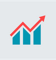 flat growing graph bar chart icon vector image