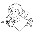 Flying cupid BW vector image