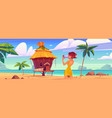 girl take photo bungalow and sea vector image vector image