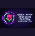 glowing rose neon sign of flower shop in round vector image