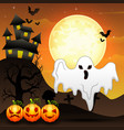 halloween background with flying ghost and pumpkin vector image
