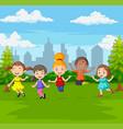 happy children jumping in green city park vector image vector image