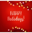 Happy Holidays on red kniting vector image vector image