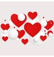 horizontal banner with red hearts and 3d vector image vector image