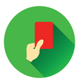 Icon of football referee hand with red card vector image
