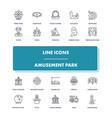 line icons set amusement park vector image vector image