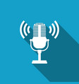 microphone icon with long shadow on air radio mic vector image