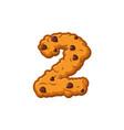 number 2 cookies font oatmeal biscuit alphabet vector image vector image