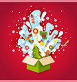 paper cut craft style open christmas gift box vector image vector image
