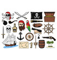 pirate set captain ship map and hook icons vector image