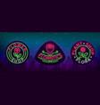 set neon logos flower shop plants florist vector image