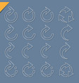 set of 3d rounded arrow white icons vector image vector image