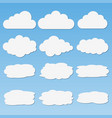 set of different paper clouds with shadows vector image