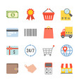 shopping and logistic icons set vector image vector image