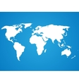 Simplified white world map silhouette on blue vector image vector image