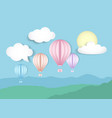 sky with hot air balloons vector image