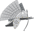 steel knight helmet vector image