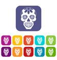 sugar skull flowers on the skull icons set flat vector image vector image