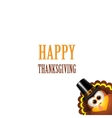 Thanksgiving card with turkey in pilgrim hat vector image