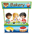 Three kids in a bakery stand with cupcakes vector image vector image