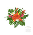 tropical bouquet monstera leaf vector image