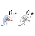 violin alphabet letter v coloring page vector image vector image