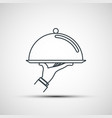 waiter holding empty tray with a cloche vector image