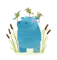 Wildlife Hippo with Cute Birds Smiling Kids vector image